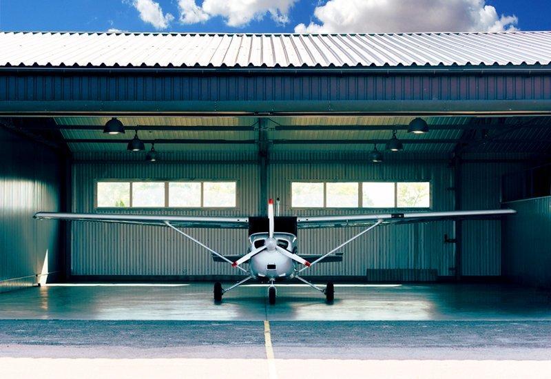 Exterior of a prefab steel airplane hangar