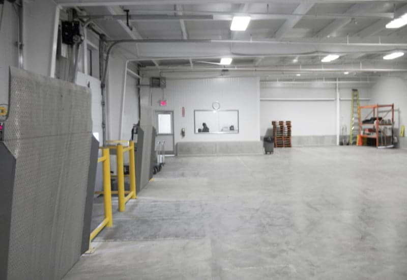 Interior of a large scope prefab steel agricultural cannabis grow-ops facility