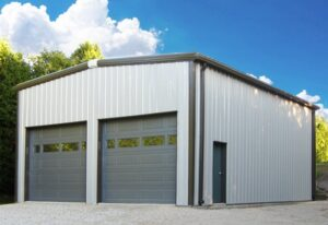 Exterior of a a pre engineered steel workshop and garage building