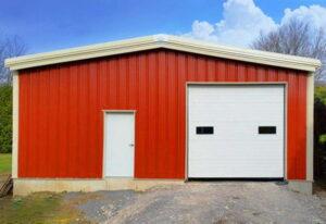 Red prefab steel garage kit