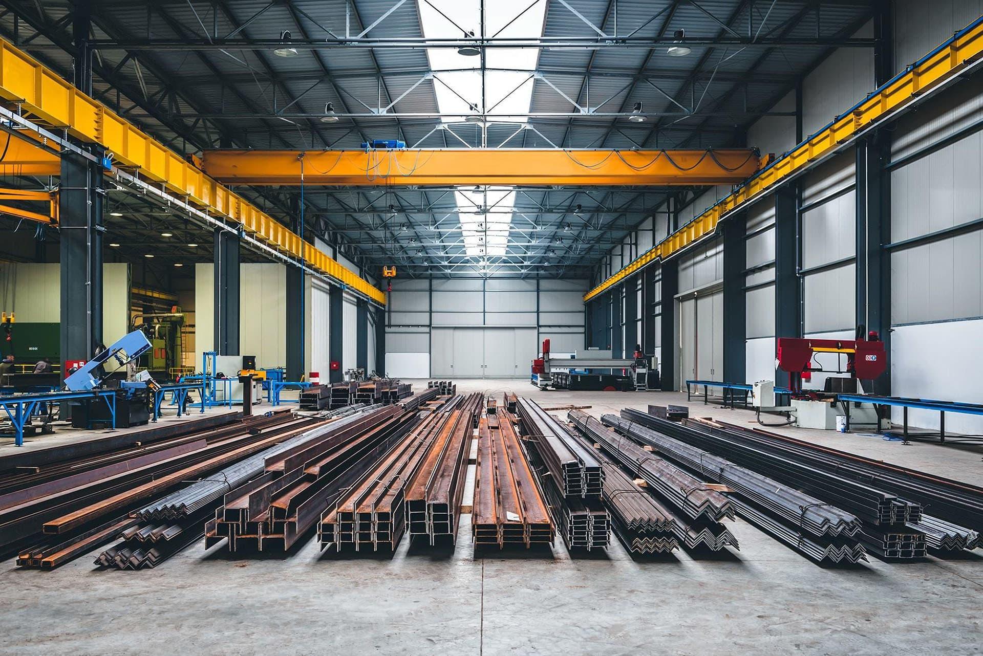 Industrial steel building used for storage