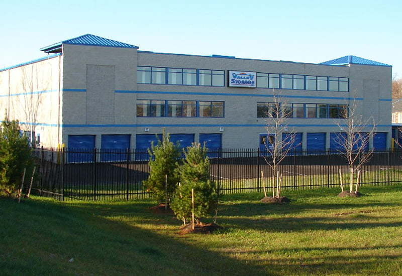 A large building with steel storage units