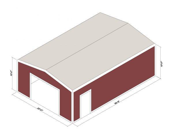 20x30x10 Prefab Steel Building Kit