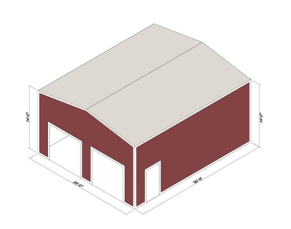 25x30x14 Prefab Steel Building Kit